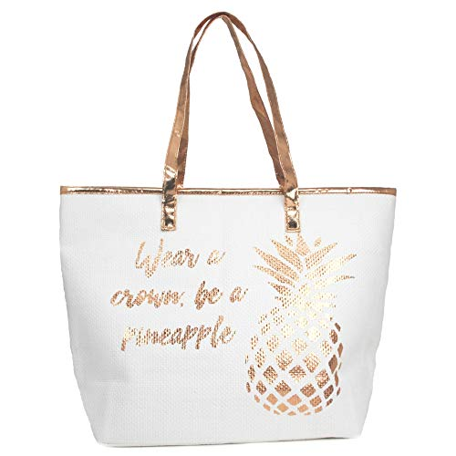 by you Women Metallic Trimmed Large Beach Tote Bag Zipper Closure Inner Pocket (Metallic Pineapple - Rose Gold)