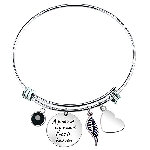 Paris Selection Memorial Bangle Bracelet A Piece of My Heart Lives in Heaven, 2.5