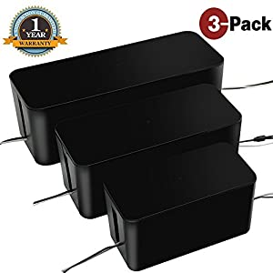 [Set of Three]Cable Management Boxes Organizer ,Large Storage Holder for Desk, TV, Computer, USB Hub, System to Cover and Hide & Power Strips & Cords(Black)