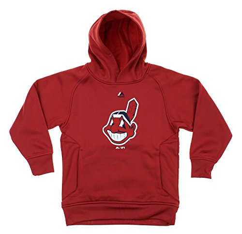 Majestic MLB Youth Boys Team Fleece Performance Hoodie, Cleveland Indians Medium (10-12)