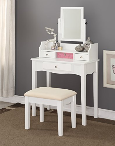 Modern Wood Make-Up Mirror Vanity Dresser Table and Stool Set, White (Bench Wood Vanity)