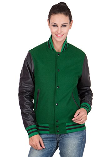 Caliber Apparels Black Leather Sleeves & Kelly Green Wool Body Varsity Jacket-Women S by Caliber Apparels