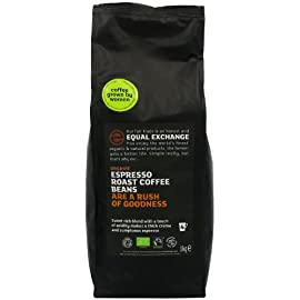 Equal Exchange Espresso Roast Organic Whole Bean Coffee 1 kg 24 This espresso roasted wholebean coffee is suitable for vegetarians. It is a fair trade espresso organic product.