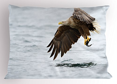 Ambesonne Eagle Pillow Sham, Bird with Feathers on Head and