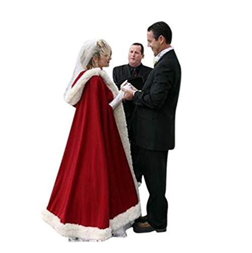 Novia Marfil Recortado Boda Con Abrigo Navidad Invierno Capa Rojo Chaqueta Nupcial De Mantón Satén Capucha UC5TCxZq