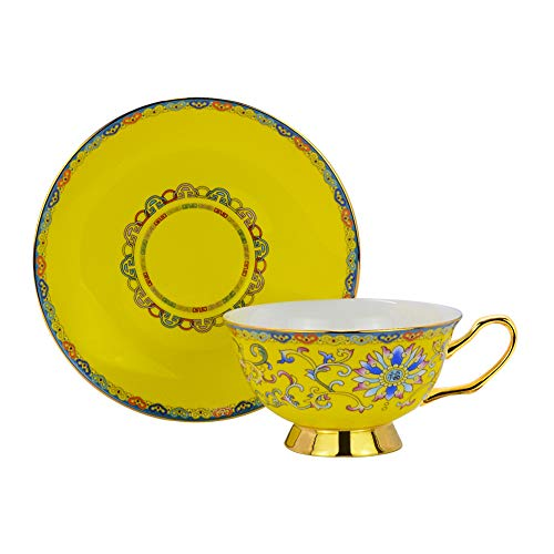 Glaze Tea Set - ACOOME Tea or Coffee Cup -Premium Quality Porcelain 6.8 oz Hand-made Yellow Glaze Embossed Tea Cup with Matching Saucer