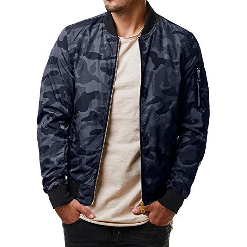 iZHH Mens Autumn Winter Jacket Coat Camouflage Zipper Long Sleeve Top Blouse(Gray,US-L) by iZHH