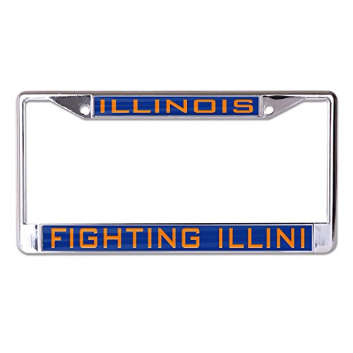 WinCraft NCAA Illinois Fighting Illini Inlaid Metal License Plate Frame, 2-Tag -