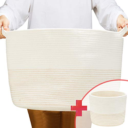 "ZOEMO 2pc XXXL Large Cotton Rope Basket with Handles 22""x14"" Launder Basket, Woven Storage Basket, Large Basket, Blanket Basket, Toy Basket, Pillow Basket, Laundry Hamper, Brown"