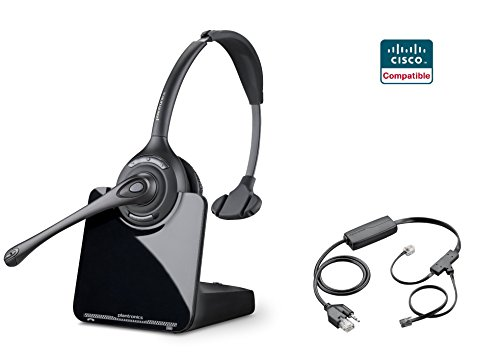 Cisco Compatible Plantronics CS510 VoIP Wireless Headset Bundle with Electronic Remote Answer|End and Ring Alert (EHS) for 6945 7821 7841 7861 7942G 7945 7945G 7962G 7965G 7975 ()