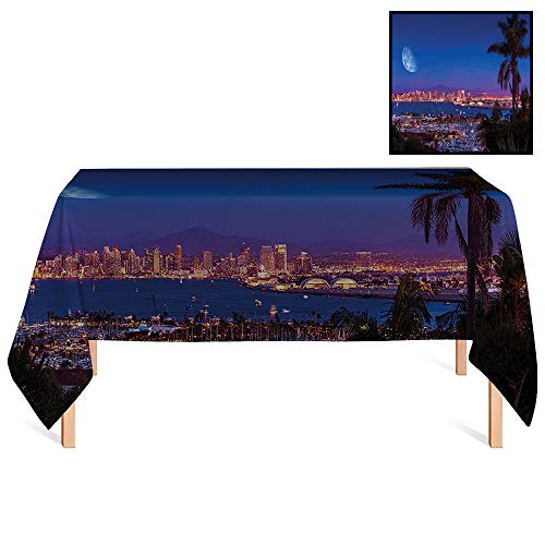 SATVSHOP Washable Tablecloth /55x102 Rectangular, San Diego California Night with Large Moon On The Horizon Yachts Panorama.for Wedding/Banquet/Restaurant.