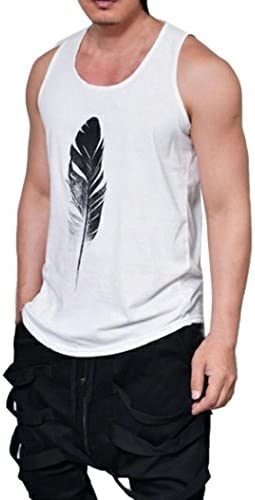 夏春 ブラック フェザー柄 シンプル ノースリーブ Tシャツ メンズシャツ