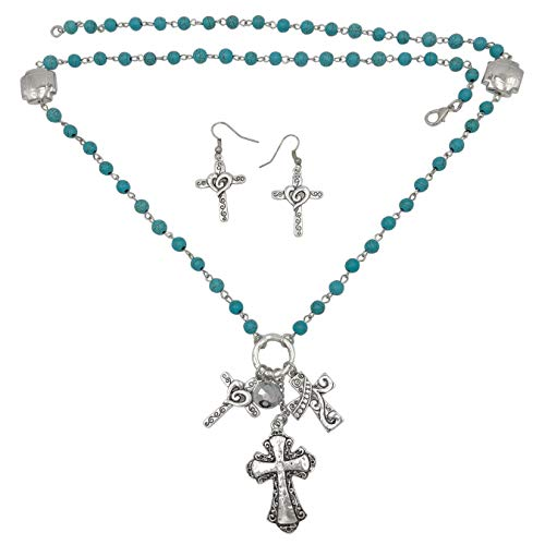 Gypsy Jewels Faith Cross Theme Mixed Charms Long Tassel Necklace & Earring Set (Imitation Turquoise Triple ()
