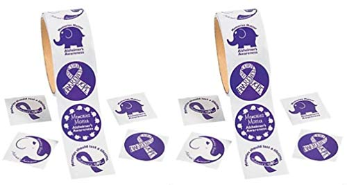 Fun Express 200 Alzheimer's Purple Ribbon Awareness Stickers (Two Rolls) ()