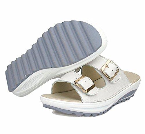 D'été Cuir Plage Diapositives Tongs Sandales Flats Véritable Cales White Casual Chaussures Lumino Forme Femme Femmes En Femmes Plate AUpxYqIZ