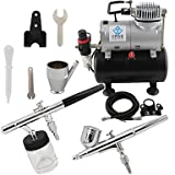 WST 2-Airbrush Air Tank Dual Action Airbrush Spray Compressor Kit 0.3mm & 0.35mm for Cake Decoration 110V,220V , 110v