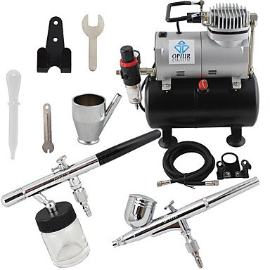 WST 2-Airbrush Air Tank Dual Action Airbrush Spray Compressor Kit 0.3mm & 0.35mm for Cake Decoration 110V,220V , 110v by ZHUQUE