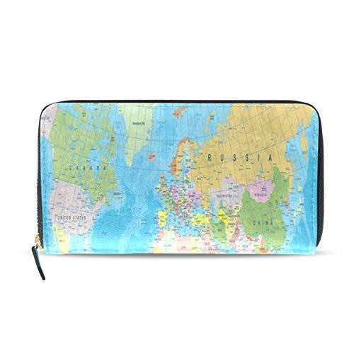Womens Wallets Blue World Map Leather Passport Wallet Coin Purse Girls Handbags