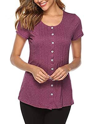 MEROKEETY Women's Summer Short Sleeve Crew Neck Button Down Pleated Casual Shirts Tunic Blouse Top