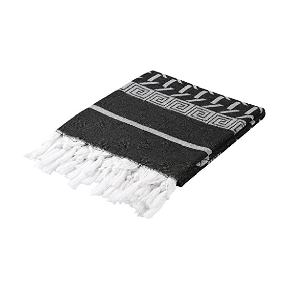 Cacala Sparta Series - Turkish Pestemals and Towels Black - 100 x 175 cm ( 37 x 69 inches) - 375 grams (0.83 pounds) Manufactured by Cacala and 100% Made in Turkey Unlike most towels , they get softer and more luscious the more you wash and use them. - bathroom-linens, bathroom, bath-towels - 41uD36HdDBL. SS570  -