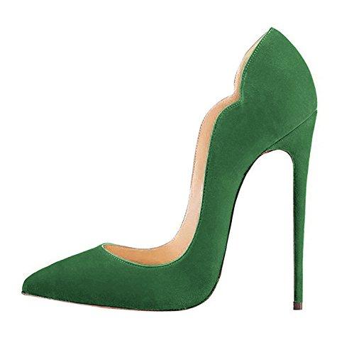 Fsj Femmes Viennent-hither Pointu Escarpins Escarpins Pompes Talons Hauts Chaussures De Soirée Taille 4-15 Us Vert-daim