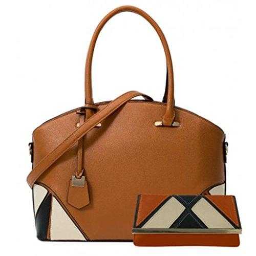 A4 Purse Ladies Set Bag Folder IN Sale Women's CW112 College LeahWard A4 Tote Handbag 1 Fashion BROWN Clearance Cross School Body 2 nfqFaSw4x