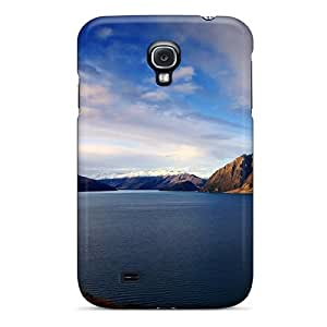 Galaxy S4 Hard Back With Bumper Silicone Gel Tpu Case Cover Quiet Lakeside Blue Sky
