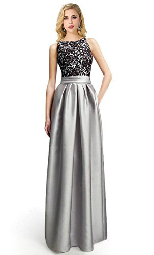 Babyonline Women Lace Sleeveless Sexy Strap Slit Long Dress for Wedding Party, Silver,Silver,8