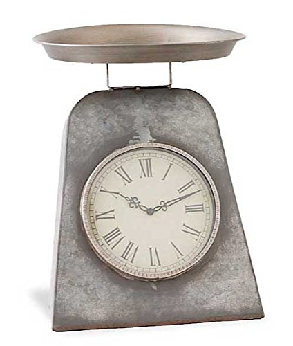K&K Interiors Gray Metal Antique Scale w/Clock