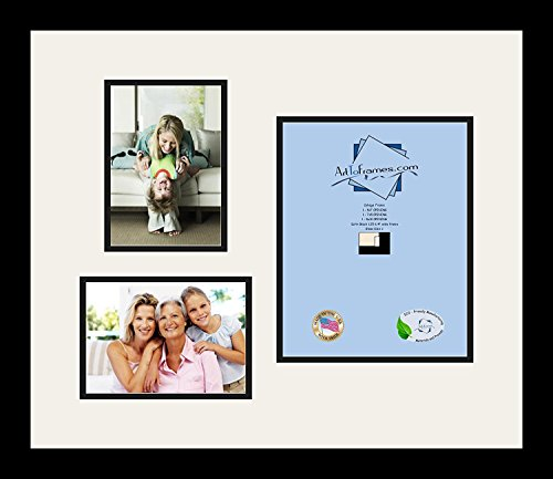 (Art to Frames Double-Multimat-1127-61/89-FRBW26079 Collage Photo Frame Double Mat with 1-8x10 and 2-5x7 Openings and Satin Black Frame)