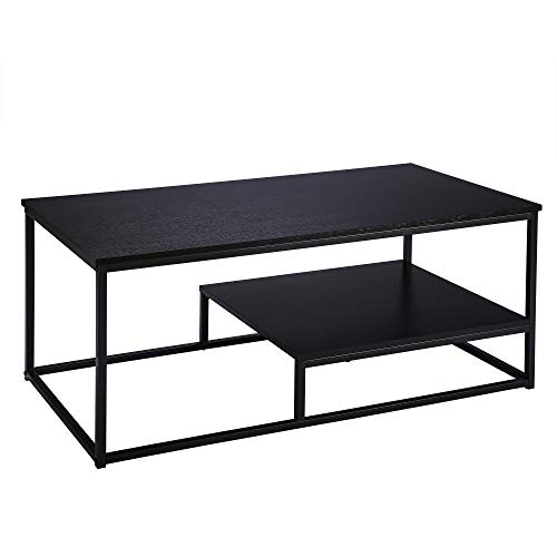 FIVEGIVEN Brownish Black Coffee Table for Living Room Rectangular Coffee Table with Storage Shelf Industrial Metal 1 Piece