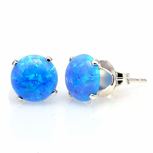 Trustmark 925 Sterling Silver 8mm Azure Blue Created Opal Crown Set Cab Stud Post Earrings, Sky