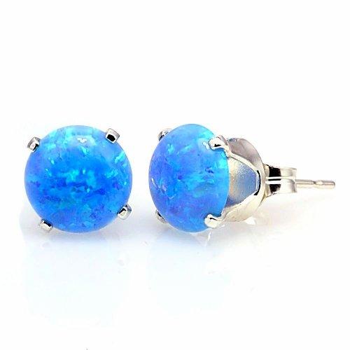 Trustmark 925 Sterling Silver 8mm Azure Blue Created Opal Crown Set Cab Stud Post Earrings, Sky