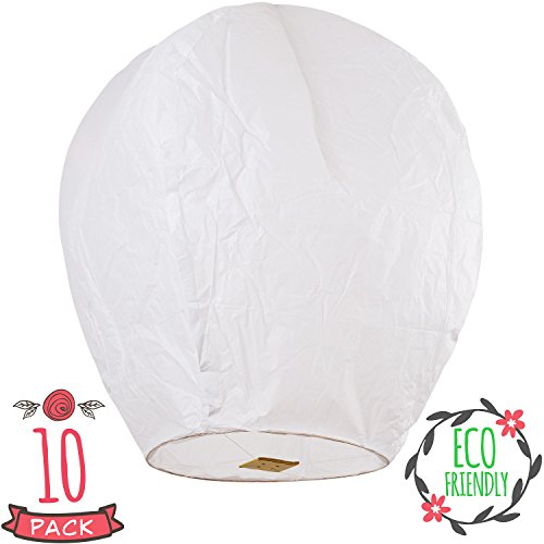 Floating Wedding Memorial Candle - SKY HIGH Coral Entertainments chinese lanterns biodegradable and fully assambeled 10-pack White for weddings, birthdays, memorials and much more