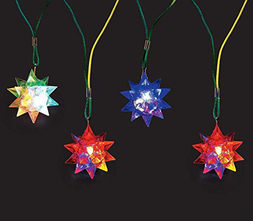 Kicko Flashing Star Ball Necklace with Nylon Cord - Pack of 4 - Star Ball is 2 Inches and Cord is 32 Inches - Batteries Included - for Kids Great Party Favors, Bag Stuffers, Fun, Toy, Gift, Prize ()