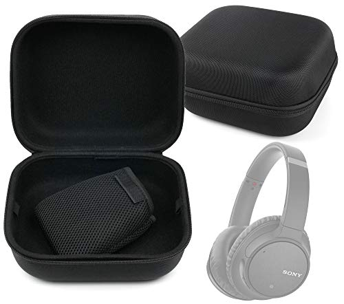 DURAGADGET LARGE Tough Matte Black EVA Storage Case for the Sony WH-CH700N & Sony MDR-1AM2 by DURAGADGET