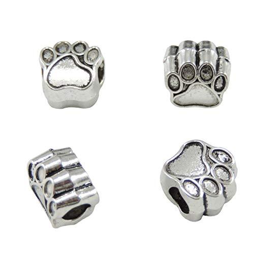 Print Animal Bead - 40Pcs Pet Dog Puppy Paw Print Footprint Big Hole Metal Bead Animal Pendant Charm Necklace Bracelet (Antique Silver)