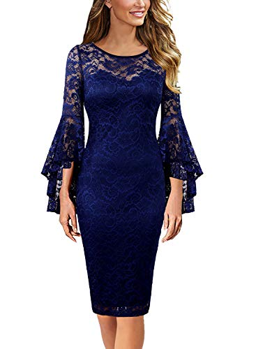 VFSHOW Womens Dark Blue Floral Ruffle Lace Bell Sleeve Slim Casual Cocktail Wedding Party Bodycon Pencil Sheath Dress 3370 DBLU XS