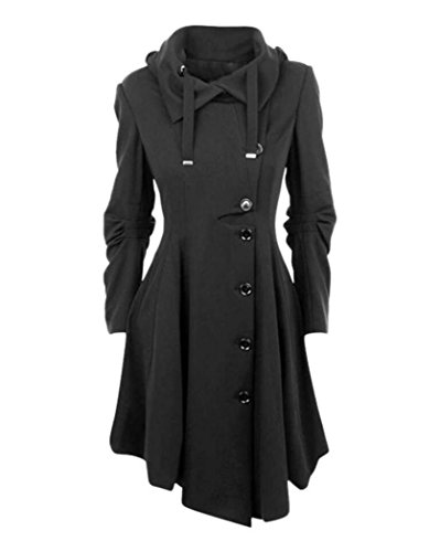 Hooded Mid Length Coat (Ellie Hebe Women's Winter Stylish Hooded Long Trench Coat Black Asian XL)