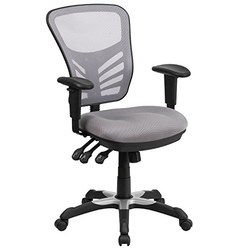 Flash Furniture Mid-Back Gray Mesh Multifunction Executive Swivel Chair with Adjustable Arms