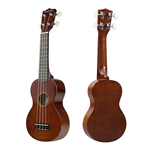 Soprano Ukulele For Beginners Four String Ukulele Start Pack W/ Gig Bag Tuner Picks Polish Cloth Extra Strings (Brown) - Image 2