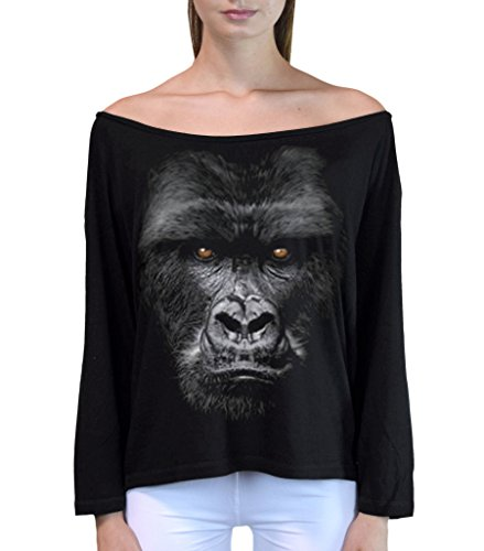 Sleeve Long T-shirt Beast (Junior's Gorilla Beast Black Off-Shoulder Long Sleeve T-Shirt L/XL Black)