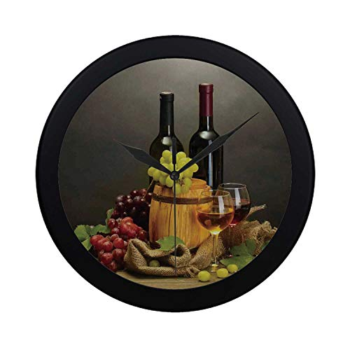 C COABALLA Winery Decor Circular Plastic Wall Clock,Barrel Bottles and Glasses of Wine and Ripe Grapes on Wooden Table Decorative Picture for Home,9.65