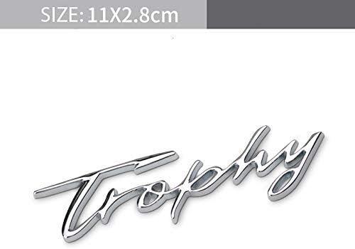 Careflection Signature Trophy 3D Metal Silver Chrome Badge Decal Sticker Emblem Logo for Car Bike Laptop Mobile