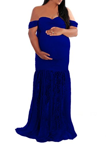 (Slim Fit Lace Maternity Gown with Drop Sleeves, Bridesmaid Dress for Photo Shoot)