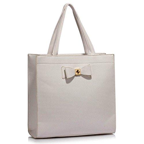 Xardi London nuovo grande custodia a tracolla da donna in finta pelle verniciata borsa tote A4 White Style 2