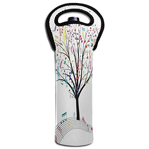 Wine Bag Music Tree 1 Bottle Red Wine Tote Bag Insulated Padded Single Water Holder Bag