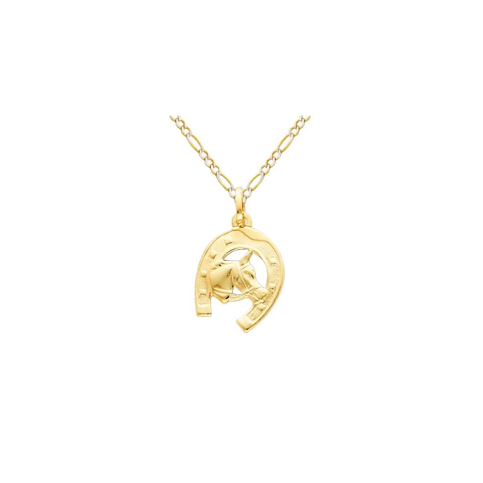 14K Yellow Gold Lucky Horseshoe Charm Pendant with Yellow and White 2 Two Tone Gold 1.8mm Figaro White Pave Chain Necklace with Spring Clasp   Pendant Necklace Combination (Different Chain Lengths Available)