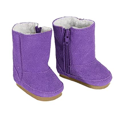 Purple Suede Style Boots Fits 18