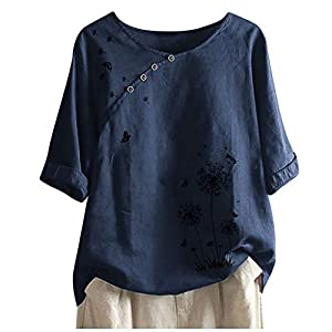 Barkoiesy Womens T-Shirt Summer Butterflies Push Button Half Sleeves Loose Blouse Strappy Retro Casual Tops Festive…